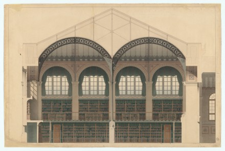 Henri Labrouste, Bibliothèque Sainte‐Geneviève, Paris, (1838‐1850).  Cross section of Reading Room and stair hall, interior elevation of West facade (as built), (fin 1850) © Bibliothèque Sainte-Geneviève, Paris, Courtesy of MoMA