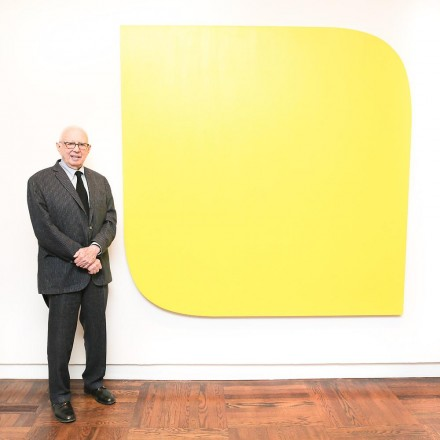 Ellsworth Kelly with Yellow Piece (1966), courtesy of Mnuchin Gallery