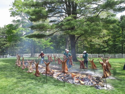 Roasted lamb, at the Brant Foundation