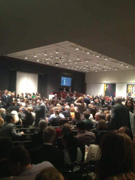 Christie's last night, via Charles Shoener for Art Observed