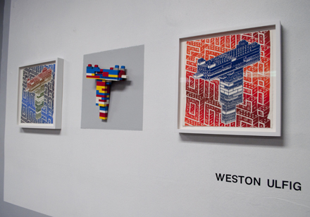 Weston Ulfig, relief prints and lego sculpture, School Nite/Wish Meme, NYC 2013