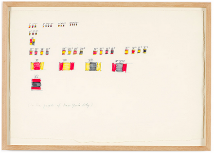 "Blinky Palermo, Entwurf zu ""To the People of New York City"", (1976), via David Zwirner"