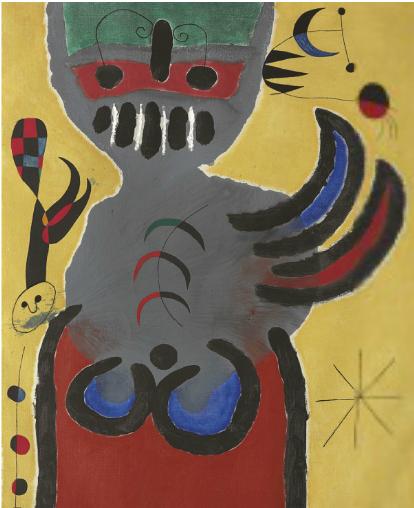 Joan Miró, La tige de la fleur rouge pousse vers la lune (1952), vua Christie's