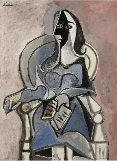 Pablo Picasso, Femme assise dans un fauteuil (1960), via Christie's