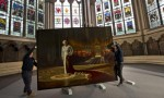 Portrait of the Queen, defaced at Westminster Abbey, via The Guardian