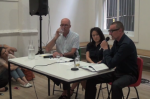 Thomas Hirschhorn, Lisa Lee and Hal Foster, via Artists Space