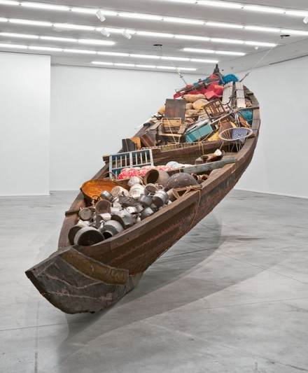 Subodh Gupta, What does the vessel contain, that the river does not (2012) (Installation View), via Hauser & Wirth