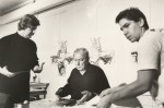 Jasper Johns (centre) with James Meyer (right)