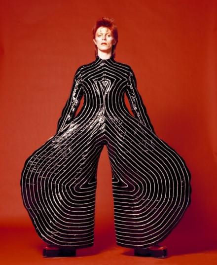David Bowie, Striped Bodysuit for Aladdin Sane Tour (1973), via Victoria and Albert Museum