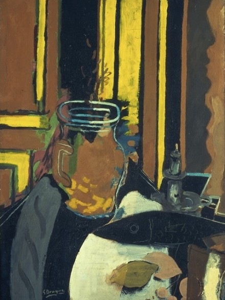 Georges Braque, Pitcher, Candlestick and Black Fish (1943), via Phillips Collection