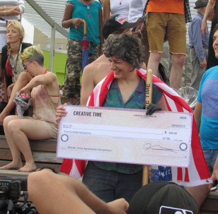 "Jamie Isenstein with her Winning ""Check,"" via Daniel Creahan for Art Observed"