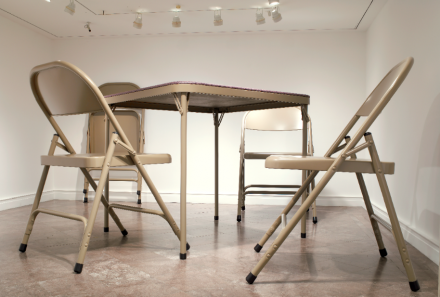 Robert Therrien, no title (folding table and chairs, beige) (2006), Collection Albright-Knox Art Gallery, Buffalo, NY. Sarah Norton Goodyear Fund, 2007. © 2006 Robert Therrien. Photograph by Tom Loonan.