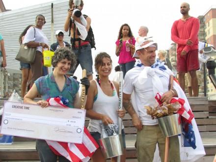 The Winners Podium, from Left to Right, Jamie Isenstein, Esperanza Mayobre, Duke Riley, via Daniel Creahan for Art Observed