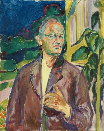 Edvard Munch, Self-Portrait in Front of the House Wall (1926), Courtesy Munch Museet