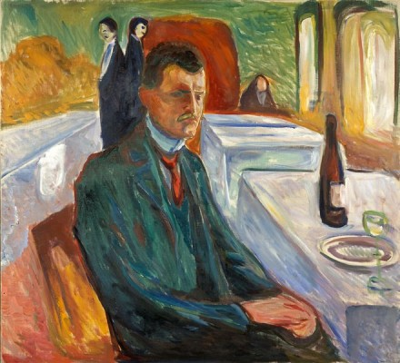 Edvard Munch, Self-Portrait with a Bottle of Wine (1906), Courtesy Munch Museet