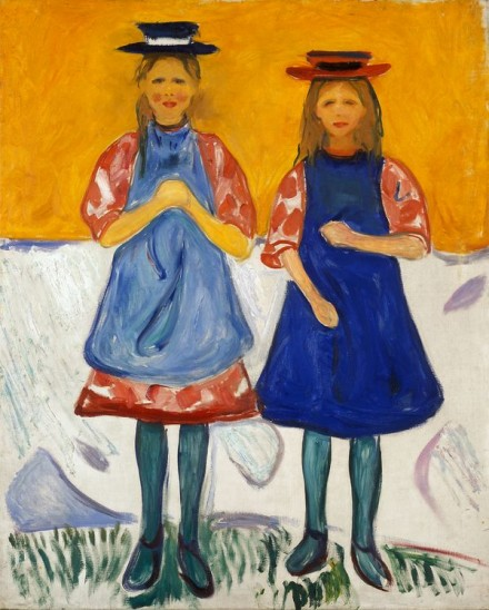 Edvard Munch, Two Little Girls With Blue Aprons (1904-1905), Courtesy Munch Museet