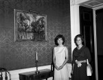 First Lady Kennedy with one of the Disputed Cézannes, via LA Times