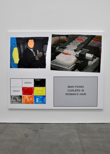 John Baldessari, Man Fixing Curlers in Woman's Hair (2013), via Sophie Kitching for Art Observed
