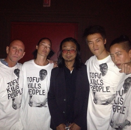 Rikrit Tiravanija and models wearing his specially designed T-Shrit, via Station to Station