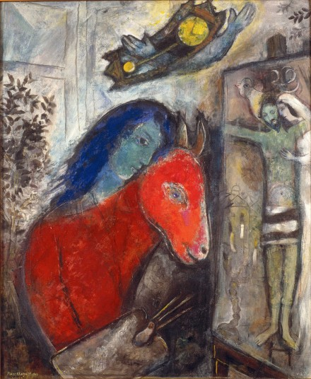 "Marc Chagall, ""Self-Portrait with Clock,"" (1947), via The Jewish Museum"