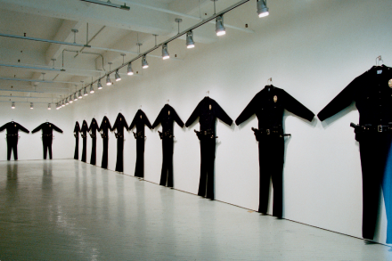 Chris Burden, L.A.P.D. Uniforms, (1993), Photo courtesy of Fabric Workshop