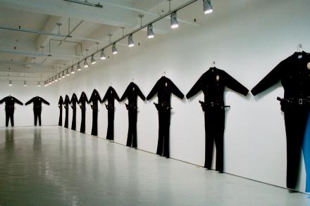 Chris Burden, L.A.P.D. Uniforms, (1993), Photo courtesy of Fabric Workshop