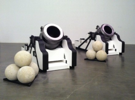 Chris Burden, Pair of Namur Mortars (2013), via Art Observed