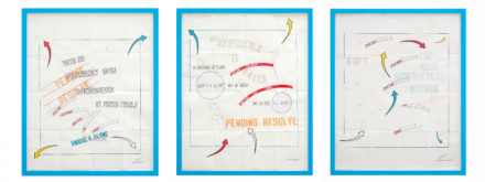 Lawrence Weiner PENDING RESOLVE, NEW YORK 2011: PARIS 2012, (2011-2012), Courtesy Marian Goodman