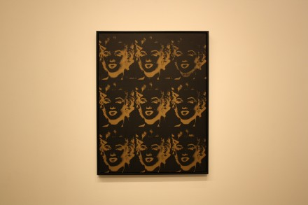 Andy Warhol, Nine Gold Marylins (Reversal Series) (1980), via Ben Richards for Art Observed
