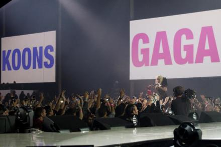 Gaga performs, via Paper