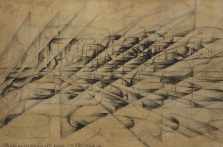 Giacomo Balla, Disgregazione X Velocità, Penetrazioni Dinamiche D'automobile (1913), via Christie's