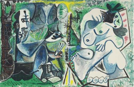 Pablo Picasso, Le Peintre Et Son Modèle Dans Un Paysage (1963), via Christie's