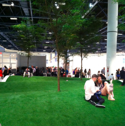 A grassy installation at the Positions section of the fair, via Daniel Creahan for Art Observed