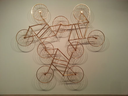 Ai Weiwei, Forever (Stainless Steel Bicycles in Gilding) 3 Pairs, 2013, at Galerie Urs Meile