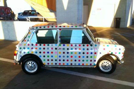 Damien Hirst's Dotted Mini Cooper, via Daniel Creahan for Art Observed