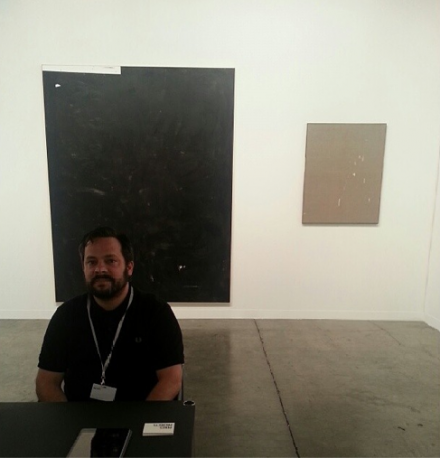 Dealer Javier Peres of Peres Projects with works by David Ostrowski, via Art Observed