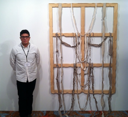 James Fuentes with a work by Daniel Subkoff, via Daniel Creahan for Art Observed