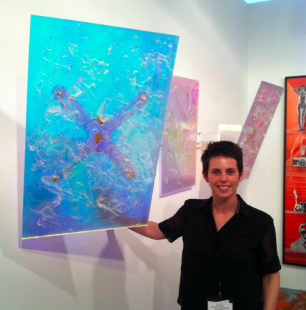 Jessica Silverman with a work by Sean Raspet, via Daniel Creahan for Art Observed
