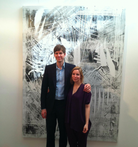 Michael Nevin and Julia Dippelhofer of The Journal with a work by Kika Karadi, via Daniel Creahan for Art Observed