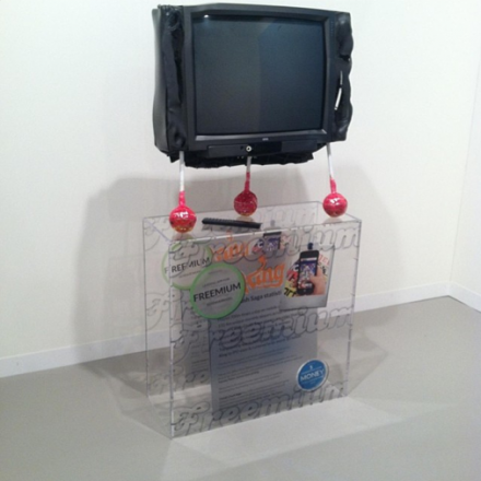 Simon Denny at Petzel, via Art Observed