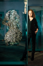 Diane Von Furstenberg with the Dustin Yellin Warp Dress Piece, via W Magazine