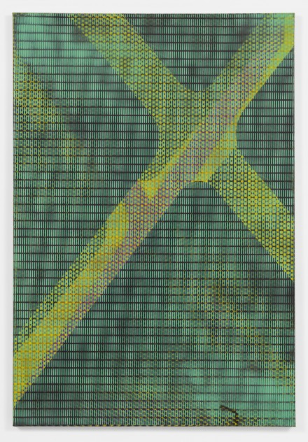 Isa Genzken. MLR, 1992. Alkyd resin spray paint on canvas. 48 1/16 x 32 5/16″ (122 x 82 cm). Lonti Ebers, New York. Courtesy the artist and Galerie Buchholz, Cologne/Berlin. © Isa Genzken
