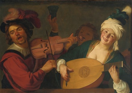 Gerrit Van Honthorst, A Merry Group Behind a Balustrade With a Violin and a Lute Player