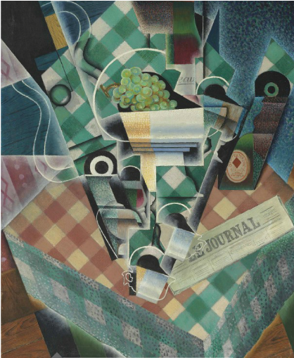 Juan Gris, Nature morte à la nappe à carreaux (1915), via Christie's