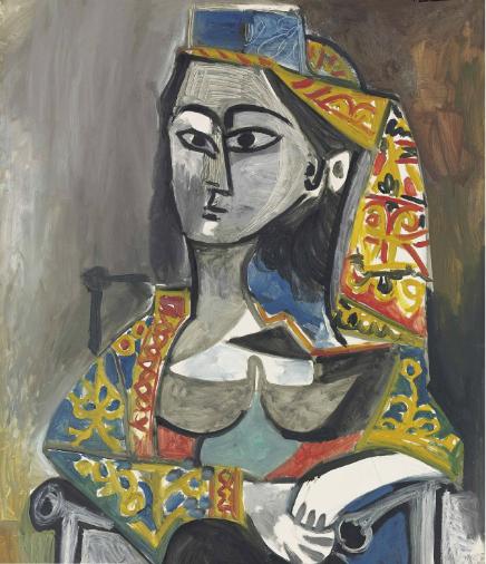 Pablo Picasso, Femme au costume turc dans un fauteuil (1955), via Christie's