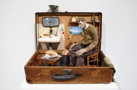 Pawel Althamer, Self-Portrait in a Suitcase (1996), Courtesy New Museum, Photo Benoit Pailley