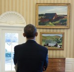 President Obama Contemplates a pair of Hoppers, via Art Daily
