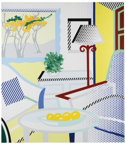 Roy Lichtenstein, Interior with Painting of Trees (1997), via Sotheby's