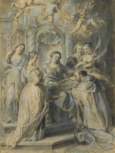 Sir Peter Paul Rubens, Saint Ildefonso receiving the Chasuble from the Virgin, via Christie's