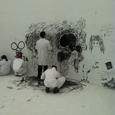 Students at Pawel Althamer's Draftsmen's Congress (2012), via Art Observed
